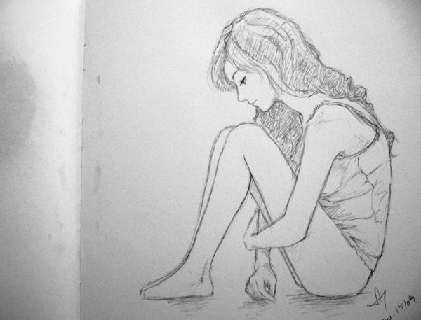 sad girl sketch - Google Search | art ideas | Pinterest | Girl ...