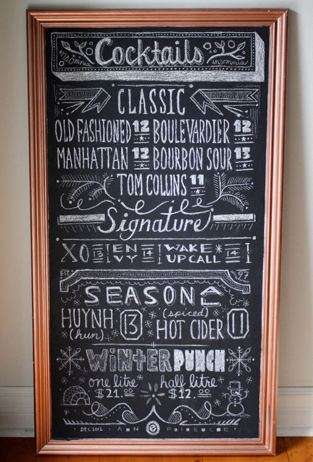 chalk board menu board