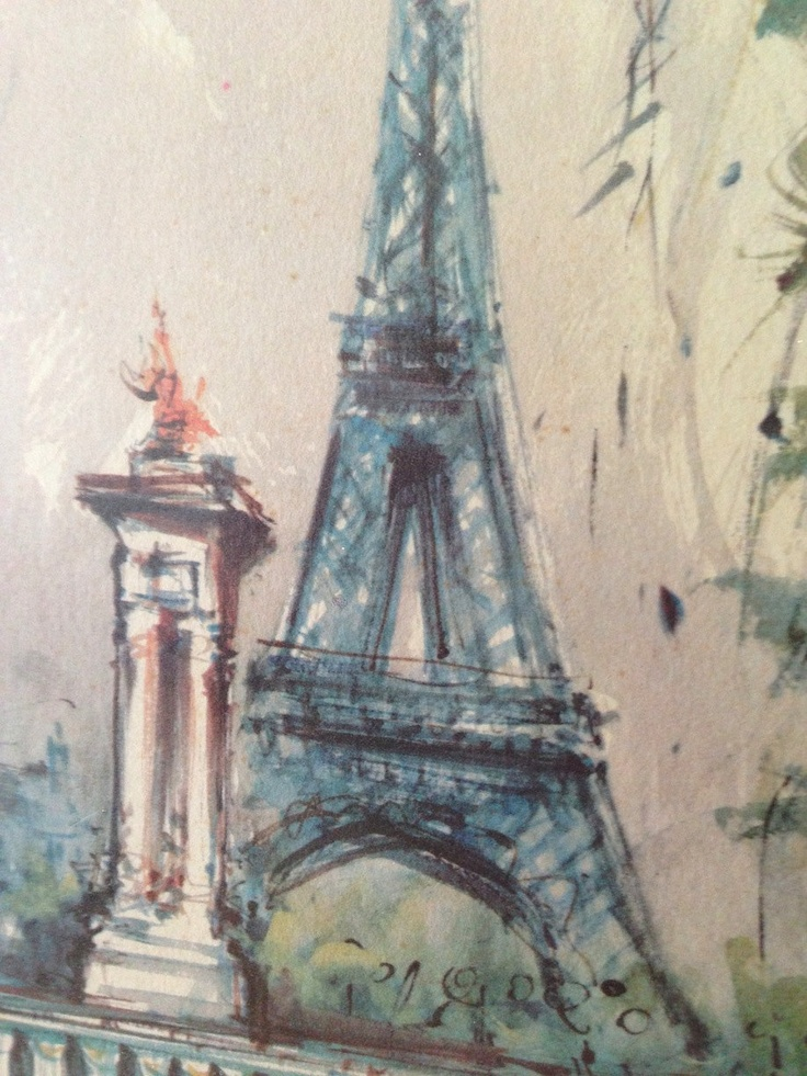 Vintage Signed Marius Girard Watercolor Lithograph Eiffel