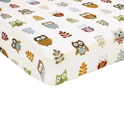 Sweet Jojo Designs Night Owl Fitted Crib Sheet - Owl Print love this for a fabric strip on curtains