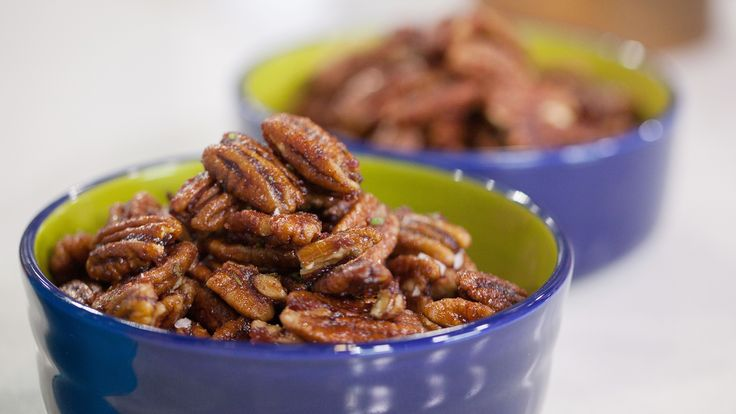 Try these Cranberry and Rosemary Glazed Pecans.  (On Today Show she used white wine/Pinot Grigio instead of water. Also she used canned cranberry sauce. And in Preparation they meant to write sugar not honey but you could use it if u want but sugar was in ingredients list & on the show)- TODAY.com by Sunny Anderson