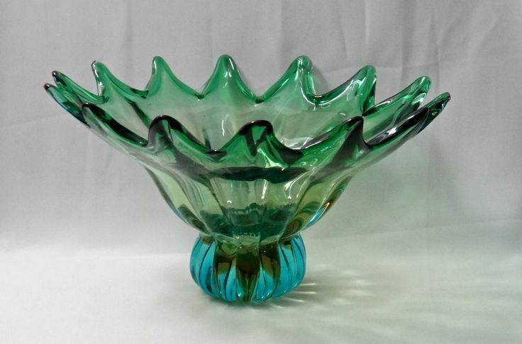 Vintage murano art glass centerpiece bowl mid century