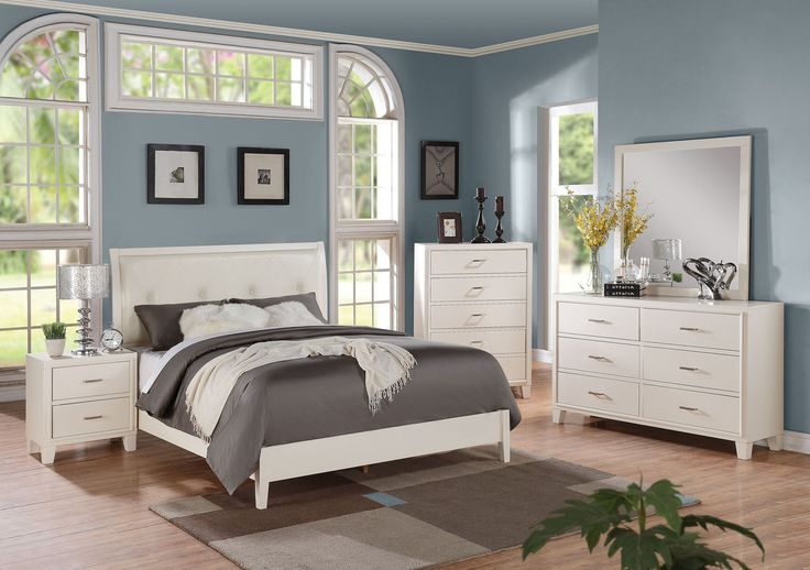 Latest ACME Furniture Tyler Cream and White Bedroom Set Full set includes a bed frame nightstand mirror and dresser 6 drawer dresser 2 drawer nightstand Amazing - Model Of Gray Bedroom Furniture Sets Idea
