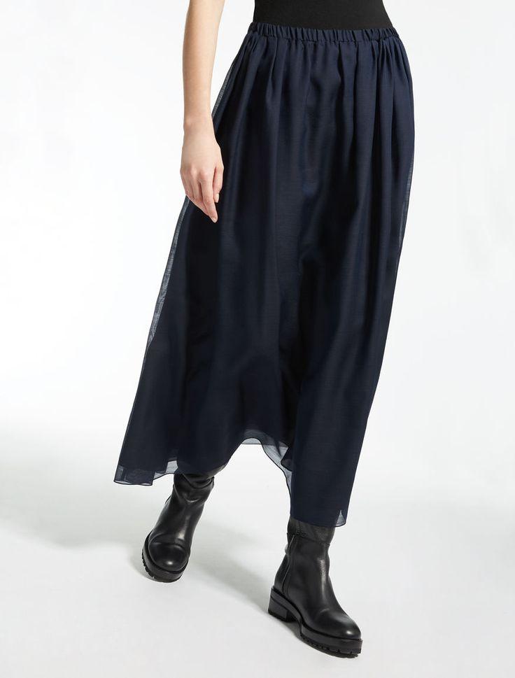 "Silk and wool canvas skirt, midnightblue - ""LIVIA"" Max Mara"