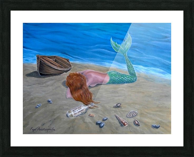 Framed, Art Print, meramaid,painting,beach,coastal,scene,merpeople,seascape, ashore, lying, wooden, boat, marine, nautical, message in a bottle, feminine, nude, water, legendary, mythological, mythical, magical, aquatic, creature,fish, summer, shells, fantasy, imaginary, vivid, aqua, blue, colorful, beautiful, cool,contemporary, realism, figurative, fine, oil, wall, art, images, home, office, decor, artwork,items,ideas,for sale,pictorem