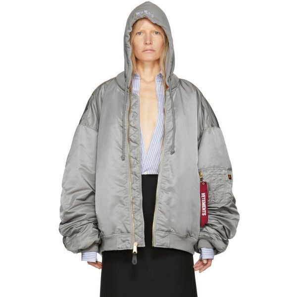Vetements Reversible Grey Alpha Industries Edition Hooded Bomber... ($2,040) ❤ liked on Polyvore featuring outerwear, jackets, reversible, grey bomber jacket, long sleeve jersey, hooded jacket, reversible jerseys and padded bomber jacket