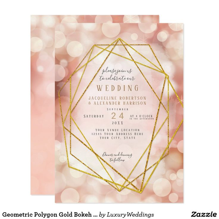 Geometric Polygon Gold Bokeh Lights Blush Pink Card Geometric Polygon Modern meets romantic! A golden polygon frame sets off the simple yet elegant bokeh sparkle, twinkling lights background is paired with a minimalist contemporary typography layout for your wedding invitation text.