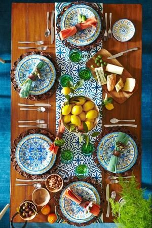 It's time for afternoon tapas on a table inspired by sun-dappled Mediterranean coastlines. Pier 1's ironstone Mediterranean Tile Dinnerware Collection features all of the blues, yellows and greens of the region, enlivened by intricate, eye-catching patterns. by winnie