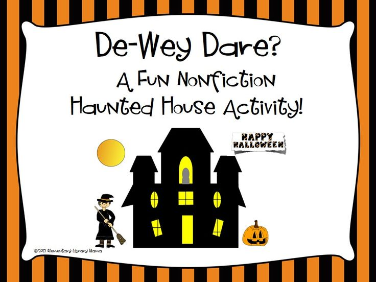 Fun nonfiction Halloween activity in your elementary library media center!  Included is a worksheet/scavenger hunt that has 13 Dewey nonfiction call numbers. Students then browse your nonfiction shelves to locate those numbers on the spine labels of books and then draw what the subject is on the worksheet. You may have the students work alone, in pairs or in groups depending on their ability. I reward them with some smarties or candy corn when they finish. My students really love this!  $