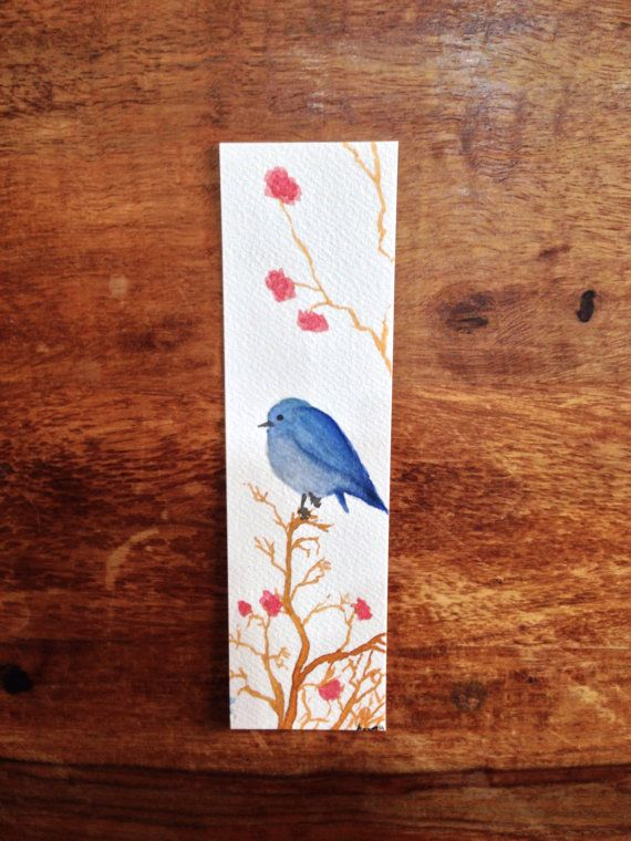PIN15 for 10 percent off ---> www.asmothdaevaart.etsy.com  Blue Bird and Garden Flowers Watercolor Bookmark  by AsmothDaeva