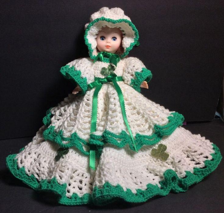 "Handmade Knitted Baby Doll Dress Layers Of Thick Yarn St. Patricks Day 18"" 60's #Handmade"