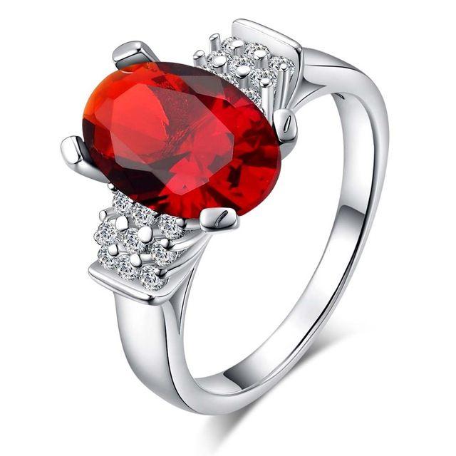 Тонкий красный циркон Овальные Серебряные позолоченные Кольца Мода Ювелирные Кольца Женщины и Мужчины,/PAJCNSDZ NTGZEJMA
