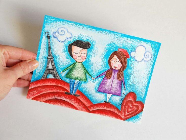 Illustrazione originale amore,parigi,disegno  di federica creazioni su DaWanda.com