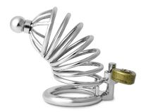 Utimi Chastity Cage. Love the artsy design on this one. Comes with a cool, heart shaped lock. Very cheap price (less than 25 $)  and good quality of materials. Great for casual play