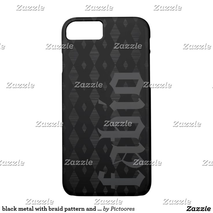 black metal with braid pattern and name iPhone 7 case