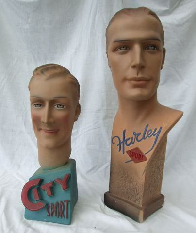 Harley Sport Shop Mannequin  Handsome male made in 1920's  bearing the raised title Harley Sport to the front. He measures 23 in (58cm) high, signed Novna to the side of the base. £325 each