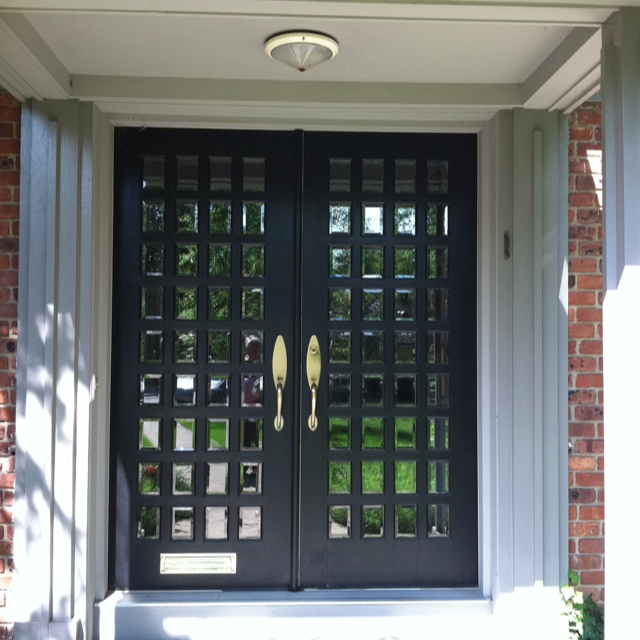Double front doors with small beveled glass panes in short for Narrow double front doors