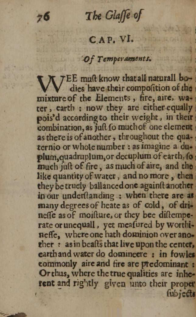 The optick glasse of humors.  Finding a period description of the four temperaments has been surprisingly difficult.
