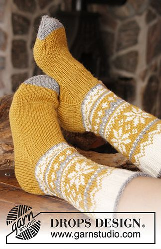 Chicken Legs - Socks with Norwegian pattern in Karisma by DROPS design