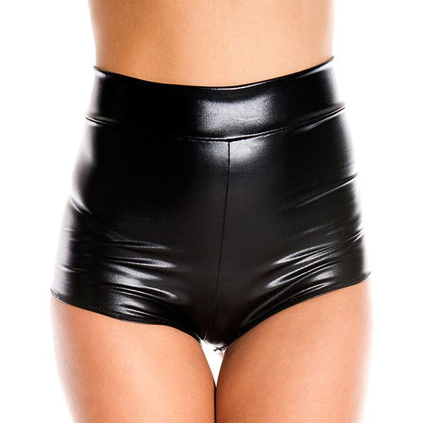 Music Legs Black Faux Leather High-Waist Shorts ($12) ❤ liked on Polyvore featuring shorts, highwaist shorts, leather look shorts, high waisted faux leather shorts, music legs and vegan leather shorts