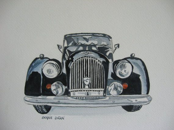 Morgan+Car+PRINT+of+ORIGINAL+Watercolor+by+DyansWatercolors,+$18.00