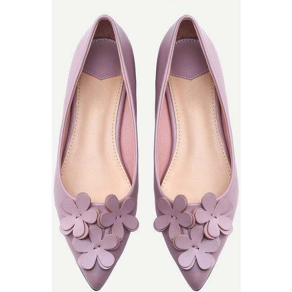 Pink Pointed Toe Flower Decorated Flats ($35) found on Polyvore featuring women's fashion, shoes, flats, blossom shoes, decorating shoes, flower shoes, pointed toe shoes and embellished flats