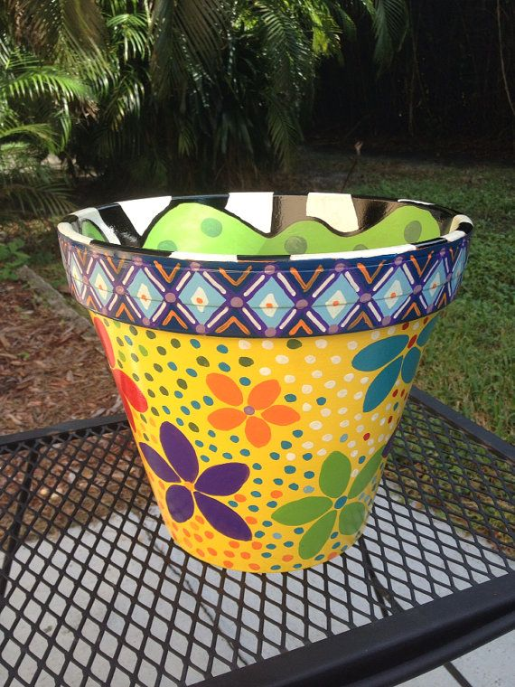 Hand Painted Terra cotta Pot on Etsy, $35.00