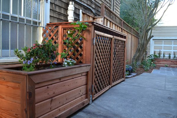 lattice shed for garbage can