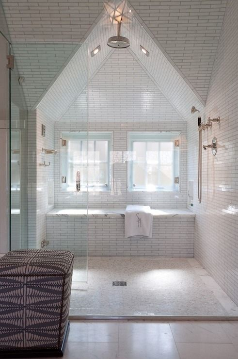 Great use of an otherwise empty space! Attic bathroom...