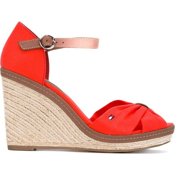 Tommy Hilfiger wedged sandals ($108) ❤ liked on Polyvore featuring shoes, sandals, red, tommy hilfiger shoes, red wedge heel sandals, tommy hilfiger, wedge heel shoes and genuine leather shoes