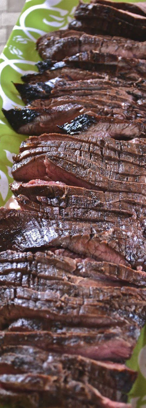 Recipe for Grilled Balsamic Flank Steak - A super simple grilled steak recipe, that packs a HUGE flavor punch. #grillingrecipes