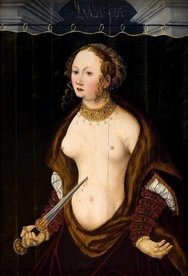 Lukrecja popełniająca samobójstwo, autor nieznany (malarz niderlandzki wg L.Cranacha), XVI wiek
