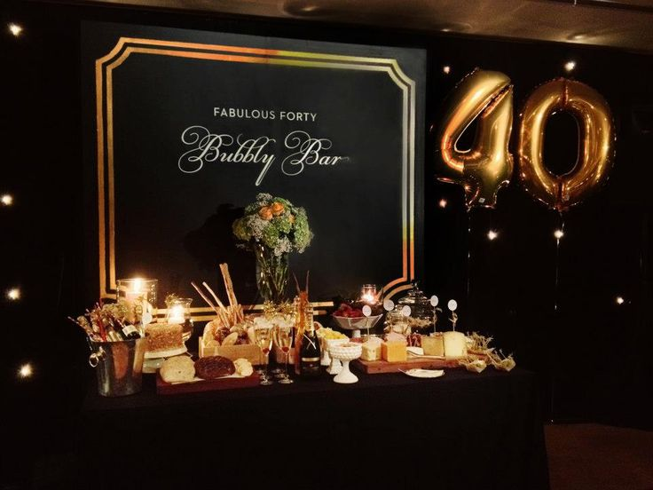 Fabulous Forty Birthday Party Bubbly Bar In Black And Gold
