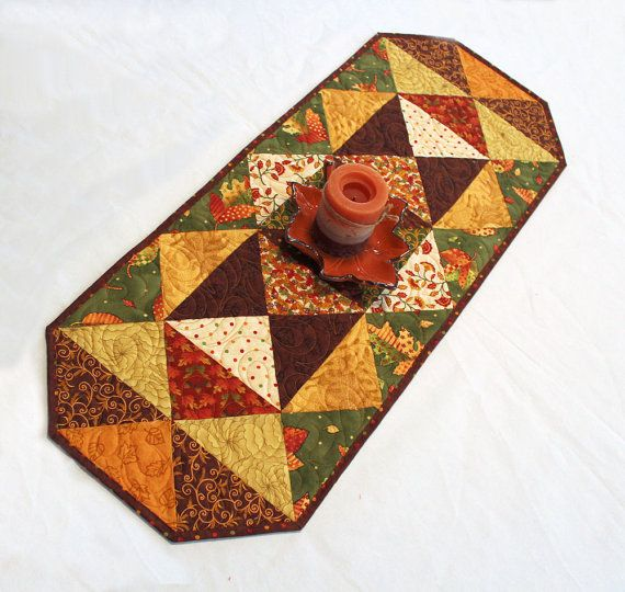 Quilted Fall Triangles Table Runner for Autumn by QuiltSewPieceful