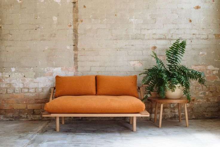 Pop & Scott 'Lovers' Couch in Terracotta Linen, 'Bobby Round' Side Table and Nullambor Side Table. Styling by Poppy Lane, Photo by Bobby + Tide.