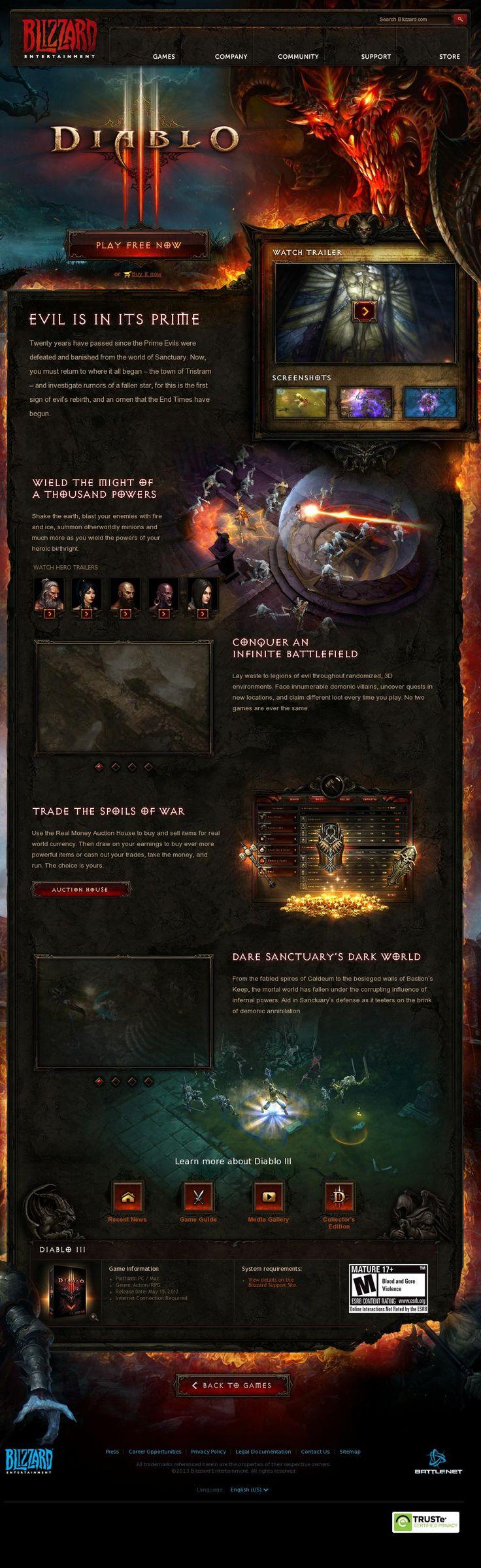Diablo III Web Layout