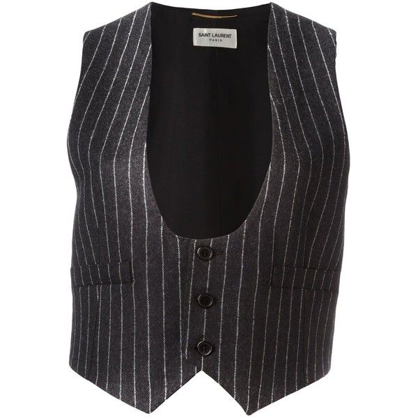 Saint Laurent sleeveless pinstripe waistcoat ($675) ❤ liked on Polyvore featuring outerwear, vests, black, waistcoat vest, yves saint laurent, sleeveless waistcoat, sleeveless vest and pinstripe vest