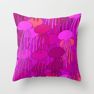 Jellyfish Pink Throw Pillow By Ts55