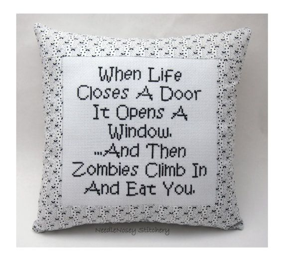 Funny Cross Stitch Pillow Black And White Pillow by NeedleNosey, $25.00