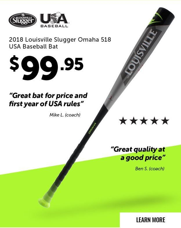 Louisville Slugger Omaha 518 10 USA Baseball Bat: WTLUBO518B10