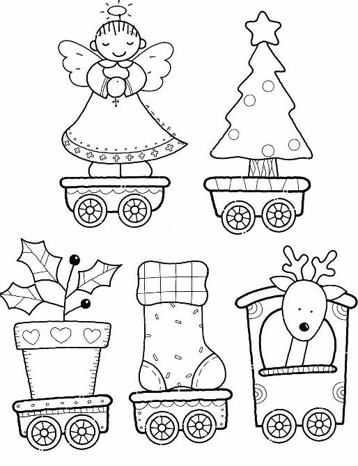 39 best train coloring sheets images on pinterest train for Santa train coloring page