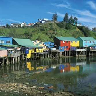 Houses on stilts, Chiloé Archipelago, #Chile