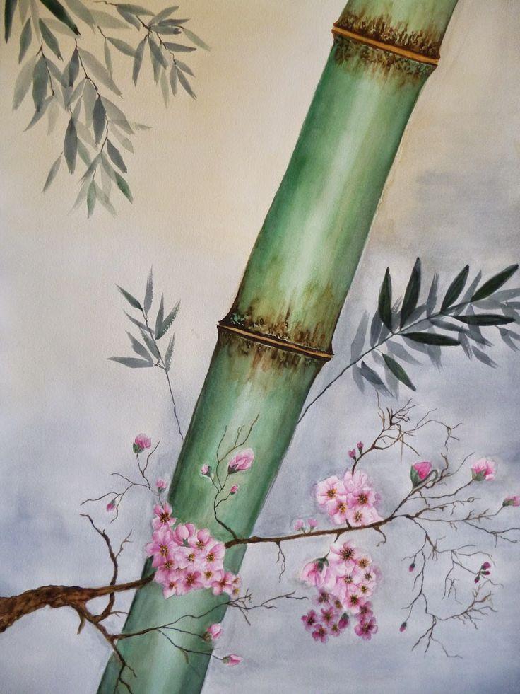 PINTANDO LA VIDA: Bambú y flor de cerezo