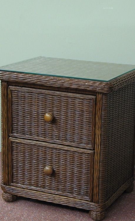 Dark Brown Wicker Nightstand | Wicker Paradise