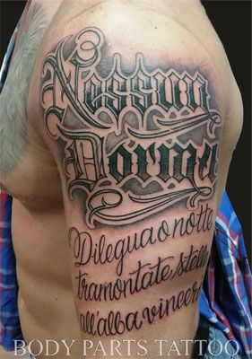 Chicano Style Lettering Tattoo by Holger Jarosch @ Body Parts Tattoo Münster