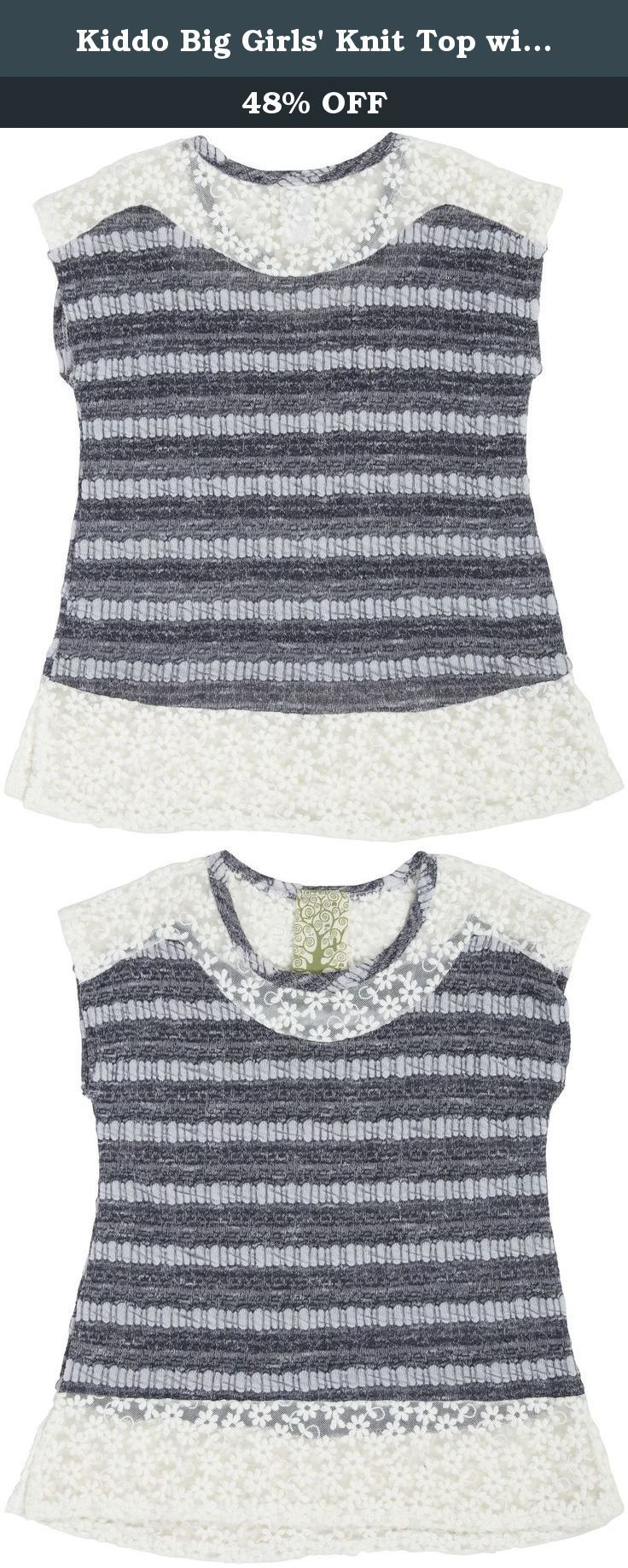 Kiddo Big Girls' Knit Top with Daisy Mesh Trim, Navy, Large. Short sleeve top with lace details.
