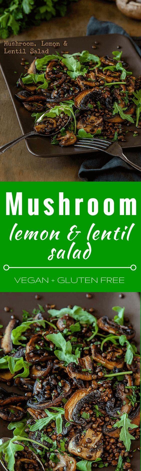 awesome Mushroom, Lemon and Lentil Salad