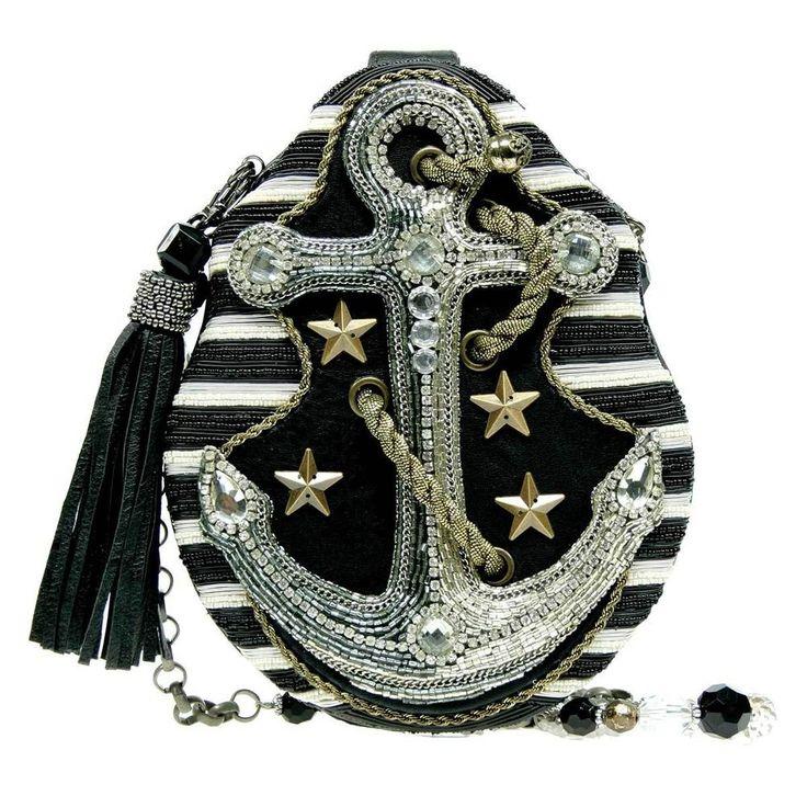 Mary Frances Hooked Sailor Black White Anchor Bead Multi Bag Purse Handbag NEW #MaryFrances #EveningBag