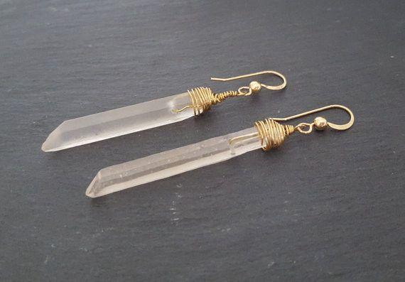 Raw Crystal Earrings, Raw Quartz Crystal, Long Quartz Point Stick Earr – ViaLove Designs