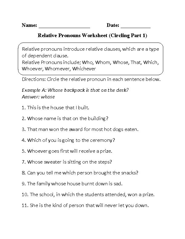 Circling Relative Pronouns Worksheet Part 1 Beginner